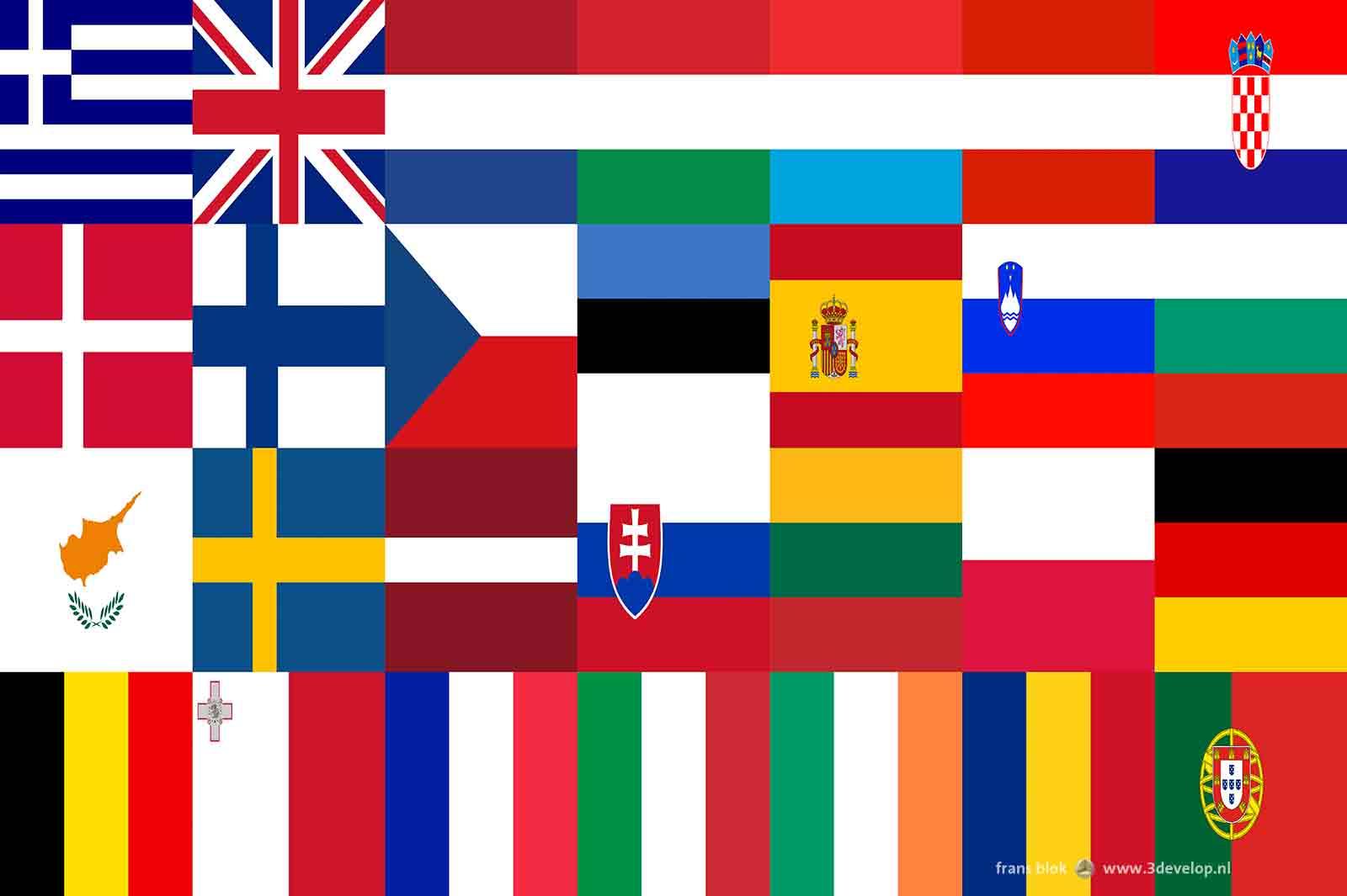 Compositie met de 28 vlaggen van de EU-lidstaten waarbij kleuren, vlakken en vormen in elkaar overlopen.