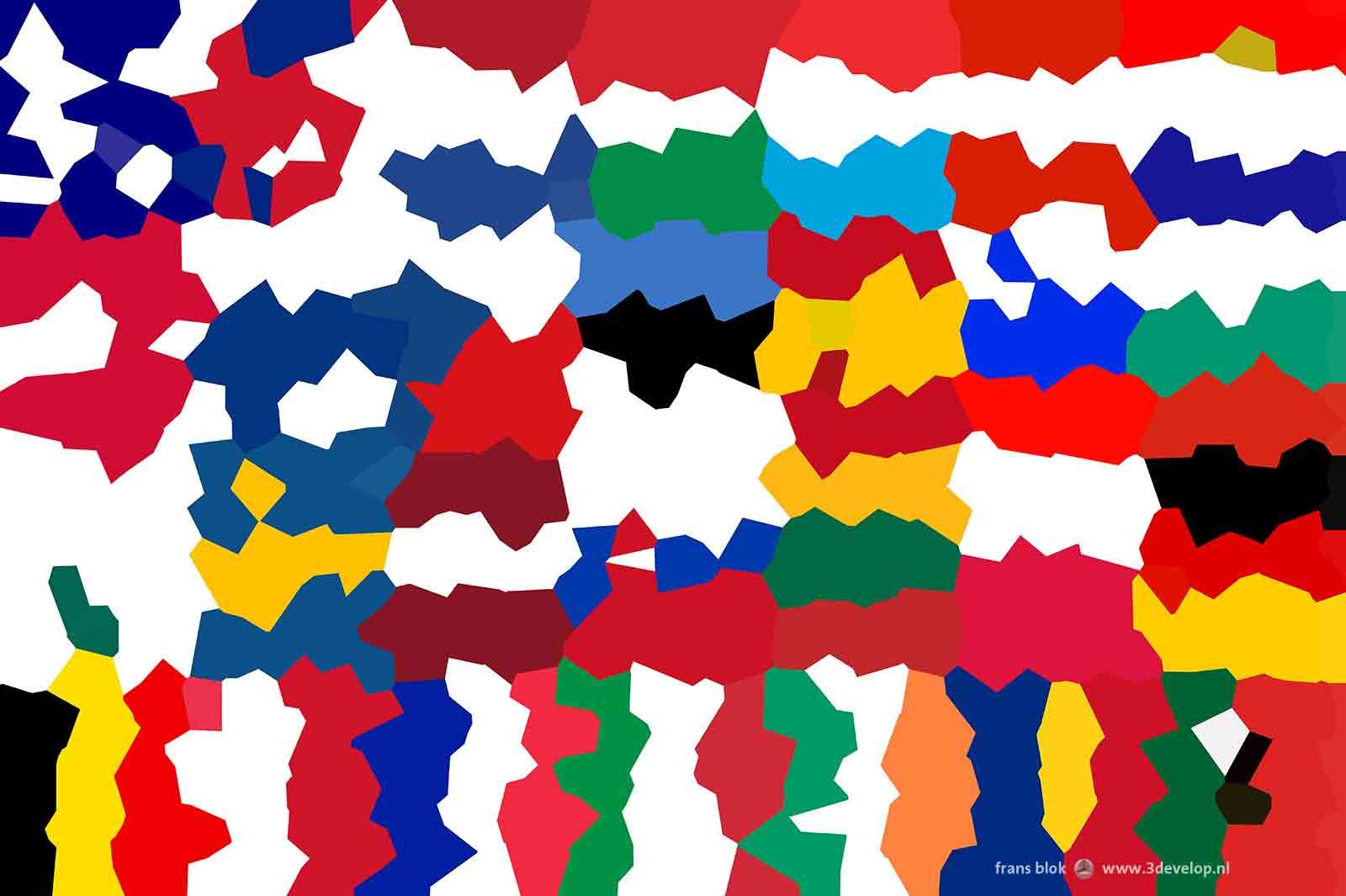 Compositie met de 28 vlaggen van de lidstaten van de Europese Unie, bewerkt met het Photoshop-filter crystallize