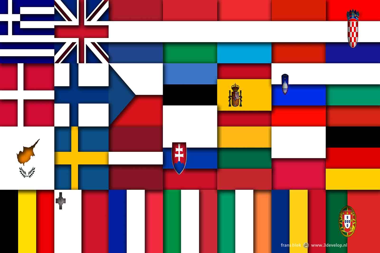Een virtueel relief waarin de vlaggen van de 28 EU-lidstaten zijn verwerkt