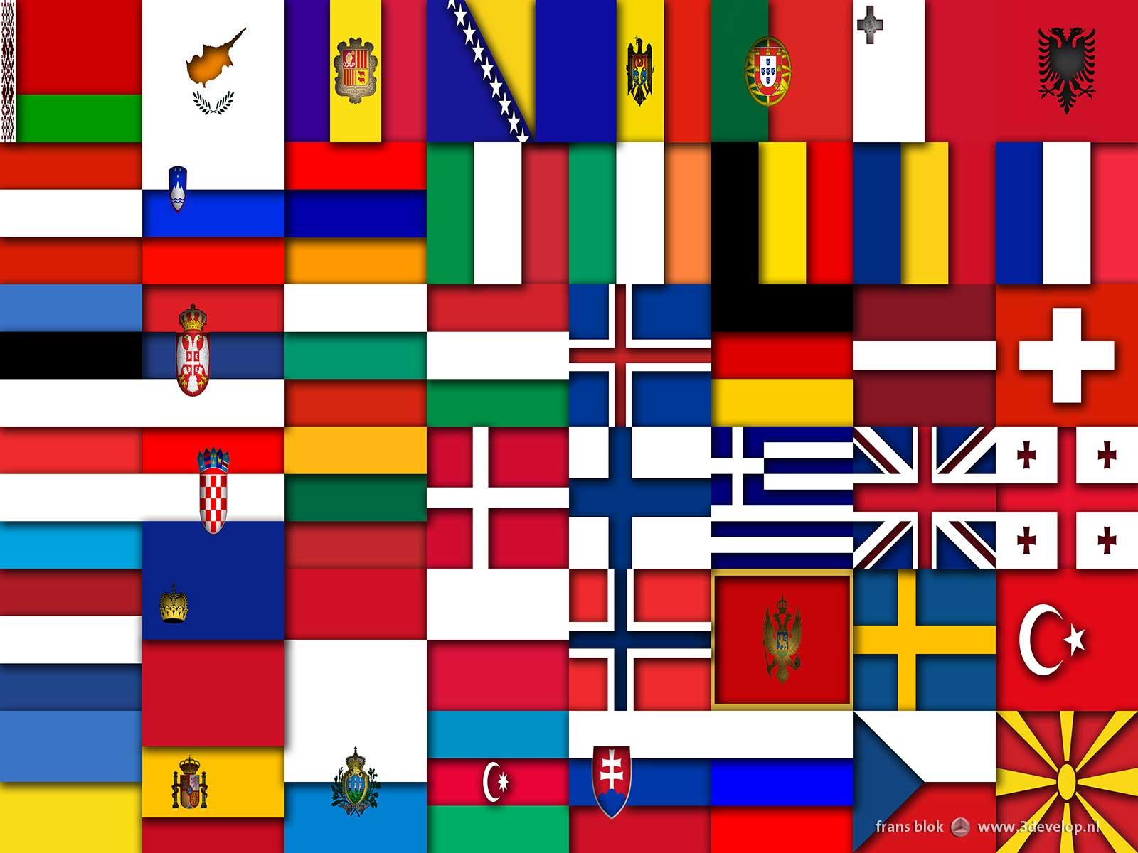 Virtueel reliëf van een compositie van 48 vlaggen van landen in Europa