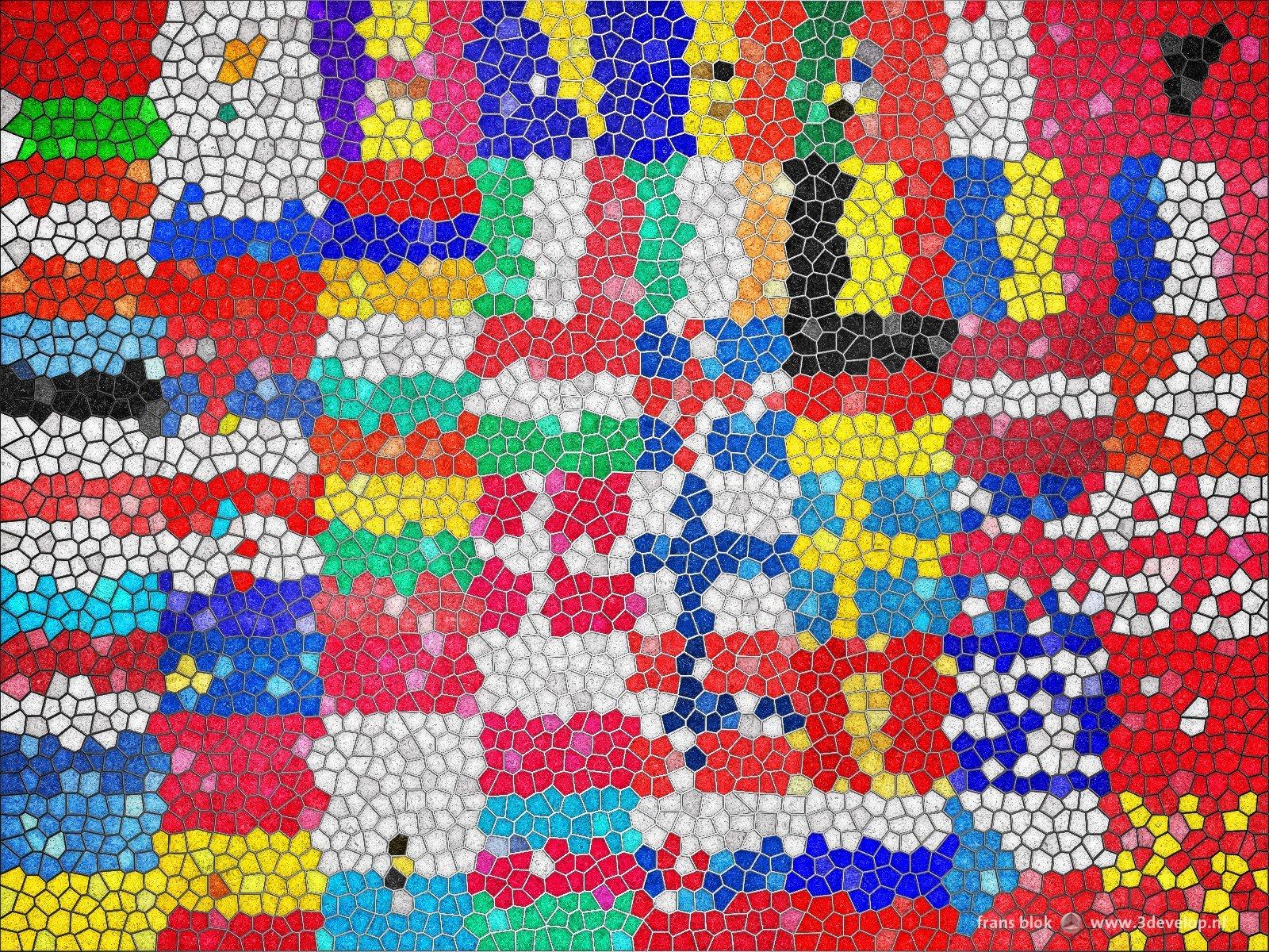 glas-in-loodversie van een compositie van de vlaggen van 48 Europese landen, als wandversiering op een muur met stucwerk