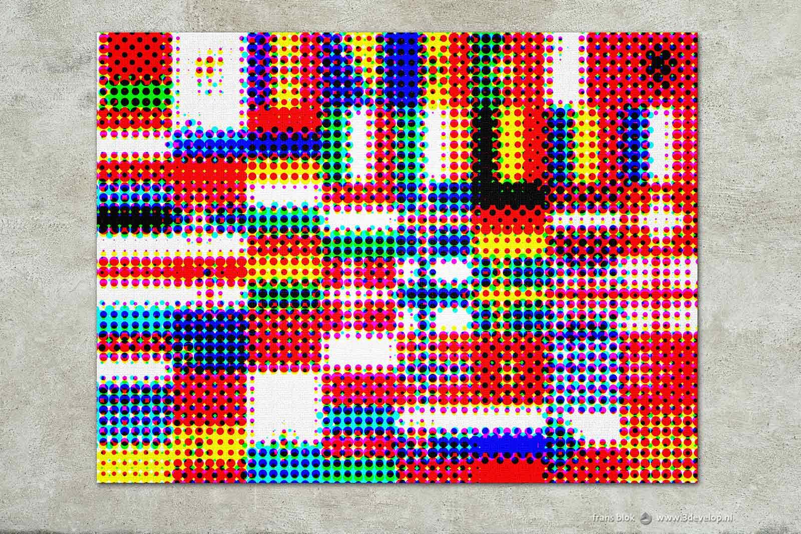 Rasterversie van een compositie van de vlaggen van 48 Europese landen, als wandversiering op een muur met stucwerk