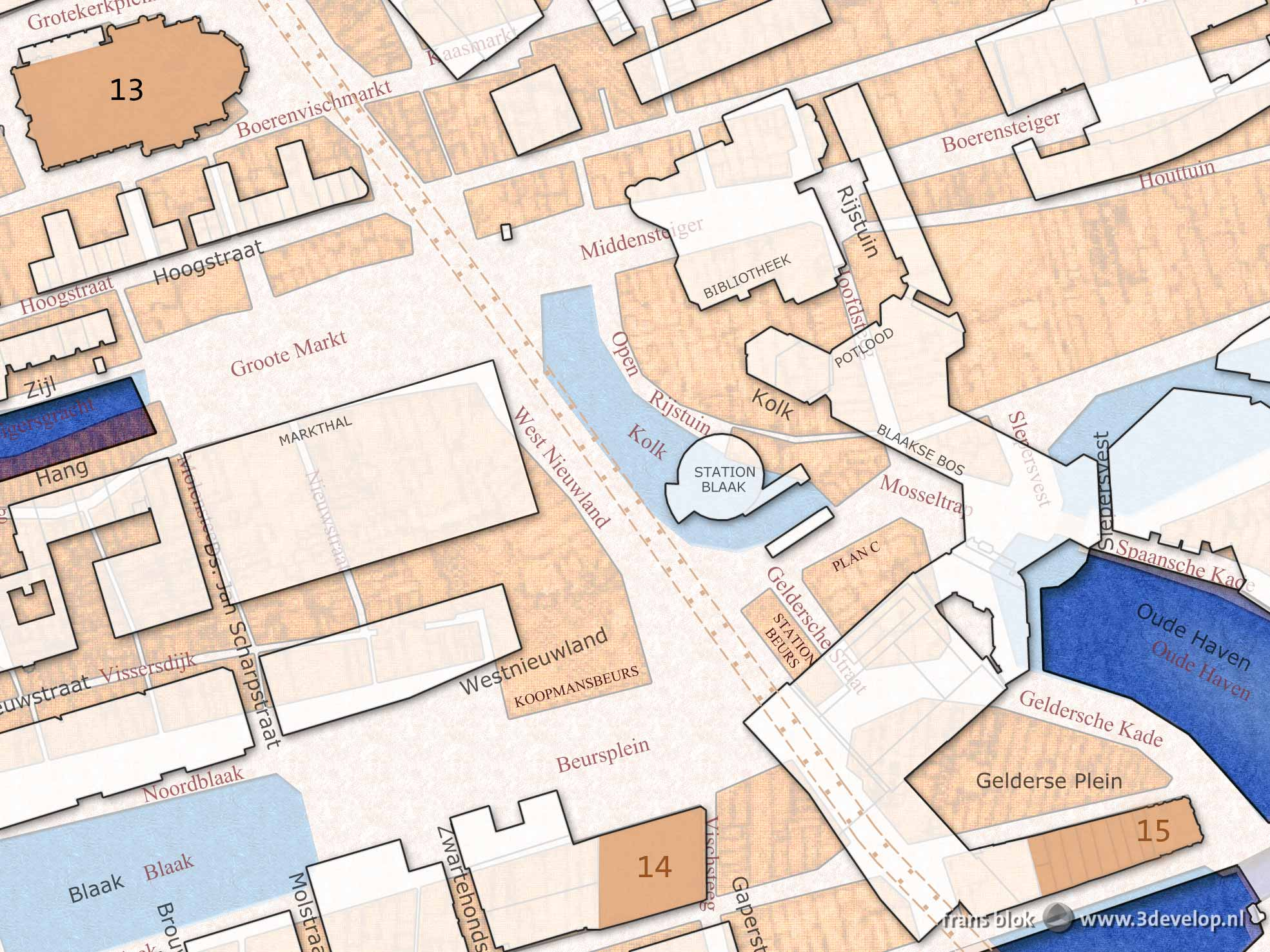 Fragment of the double street map Rotterdam 1939-2016 showing the area between Saint Lawrence Church and the White House, including Markthal, Library and Cube Houses