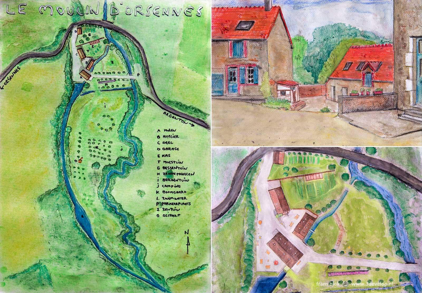 Handgetekende plattegronden en een perspectief van de Moulin d'Orsennes, een Franse watermolen die omgebouwd is tot centrum voor creatieve en yoga-vakanties