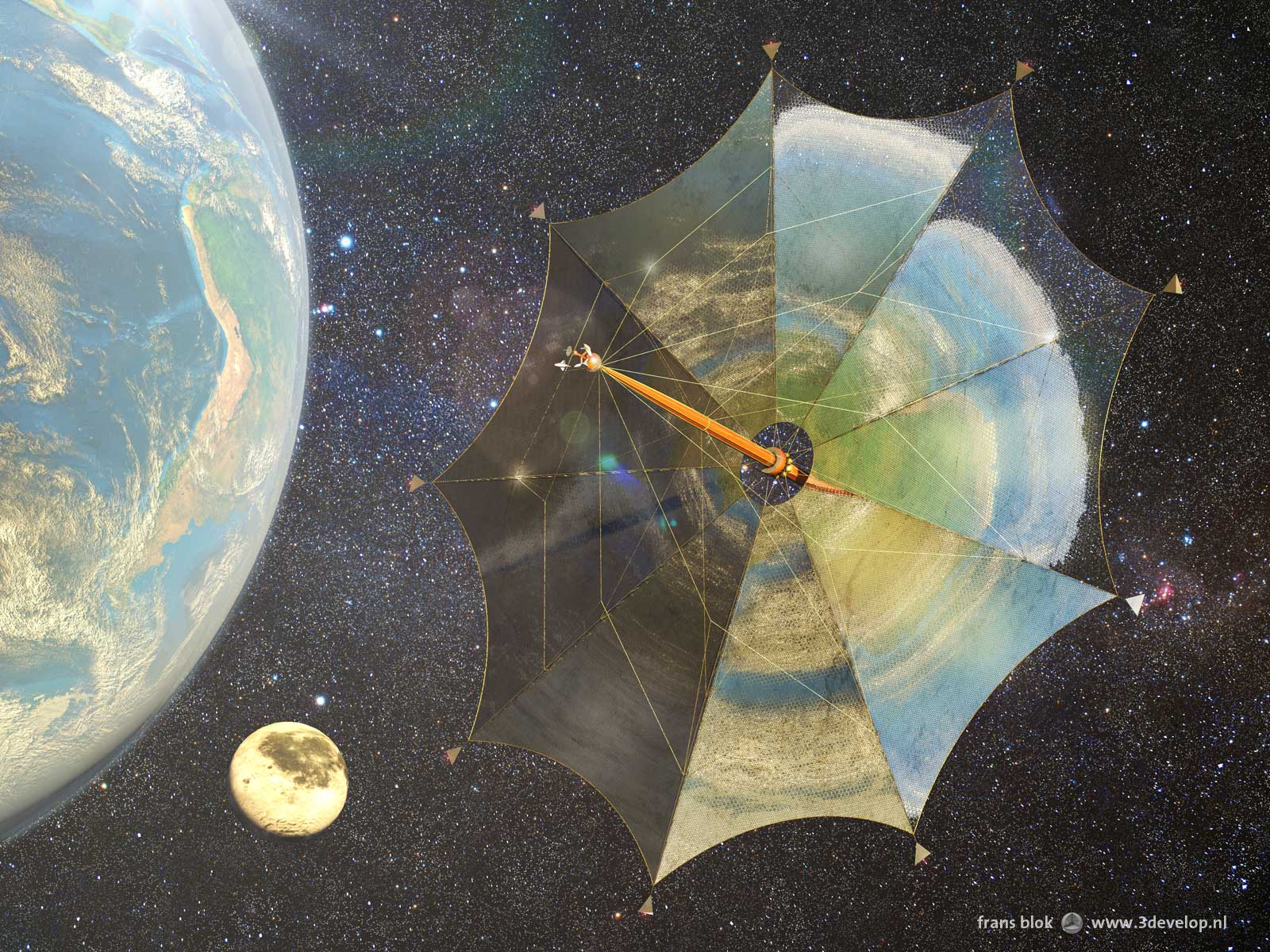 Solar sail Johannes Kepler on its way to the moons of Jupiter