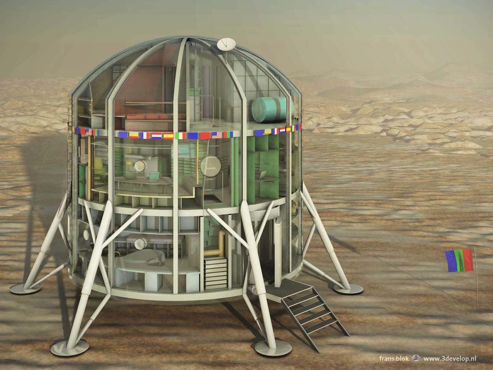 Opengewerkt 3d-model van Euro-MARS, het European Mars Analogue Research Station, met daarin zichtbaar de drie verdiepingen voor werken, wonen en slapen.