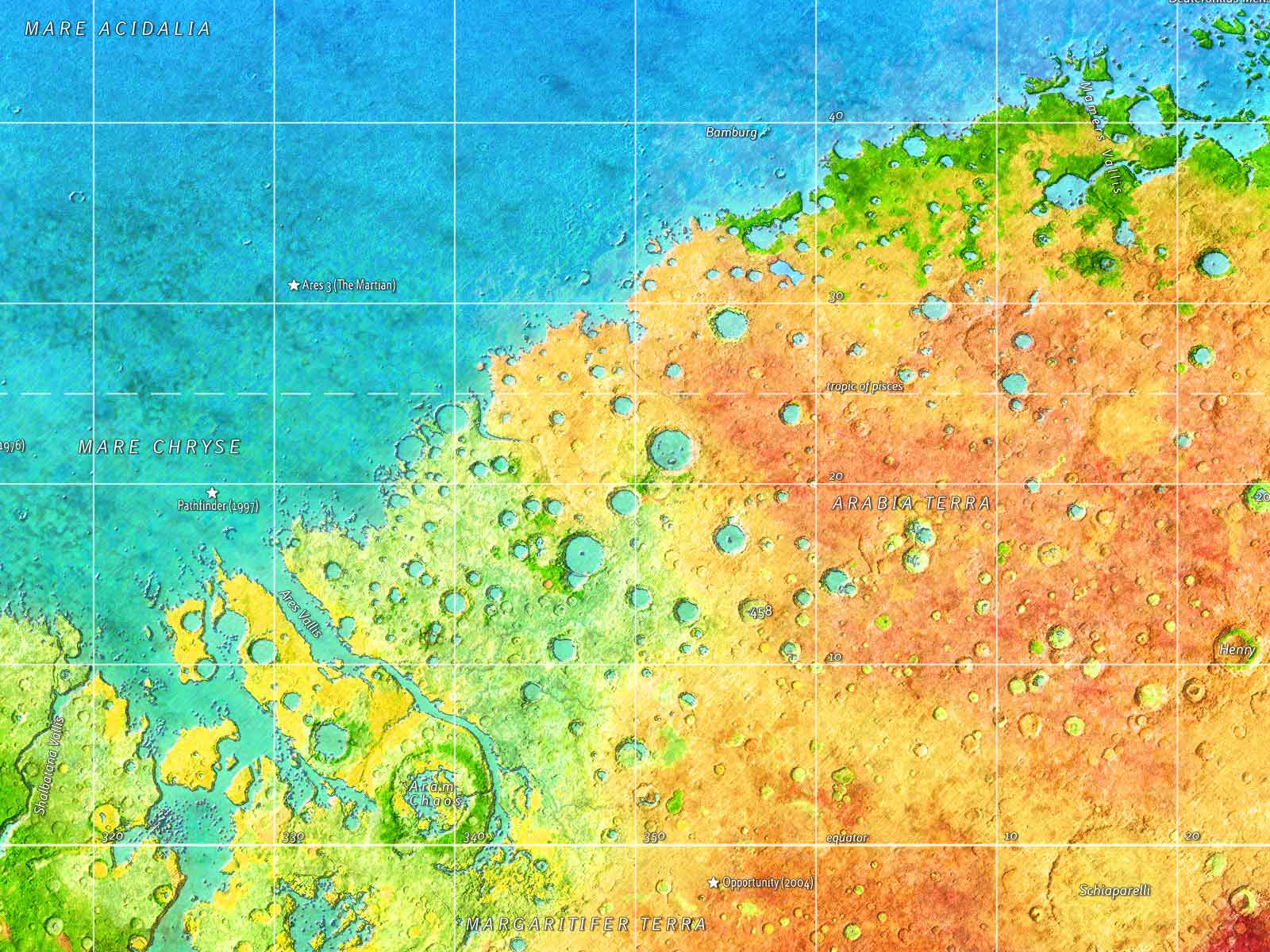 Red, green and blue Mars: fragment of a world map