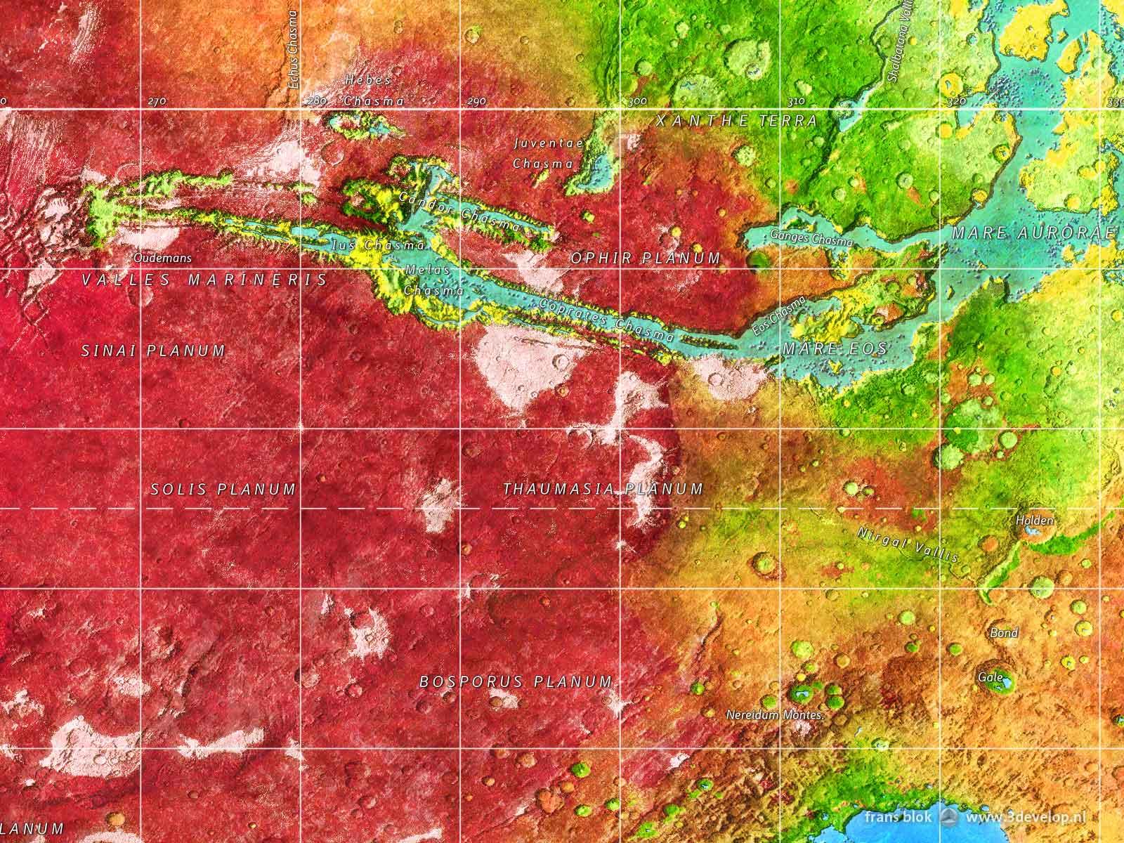 Rood, groen en blauw Mars: fragment van de kaart Mars na terraforming, met o.a. Valles Marineris, Xanthe Terra en het hoogland van Tharsis