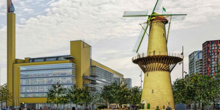 Impression of Dudok's Bijenkorf department store and windmill de Noord possibly reconstructed in Miniworld Rotterdam