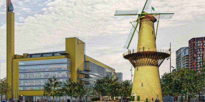 Impressie van de Bijenkorf van Dudok en Molen de Noord, mogelijk herbouwd in Miniworld Rotterdam