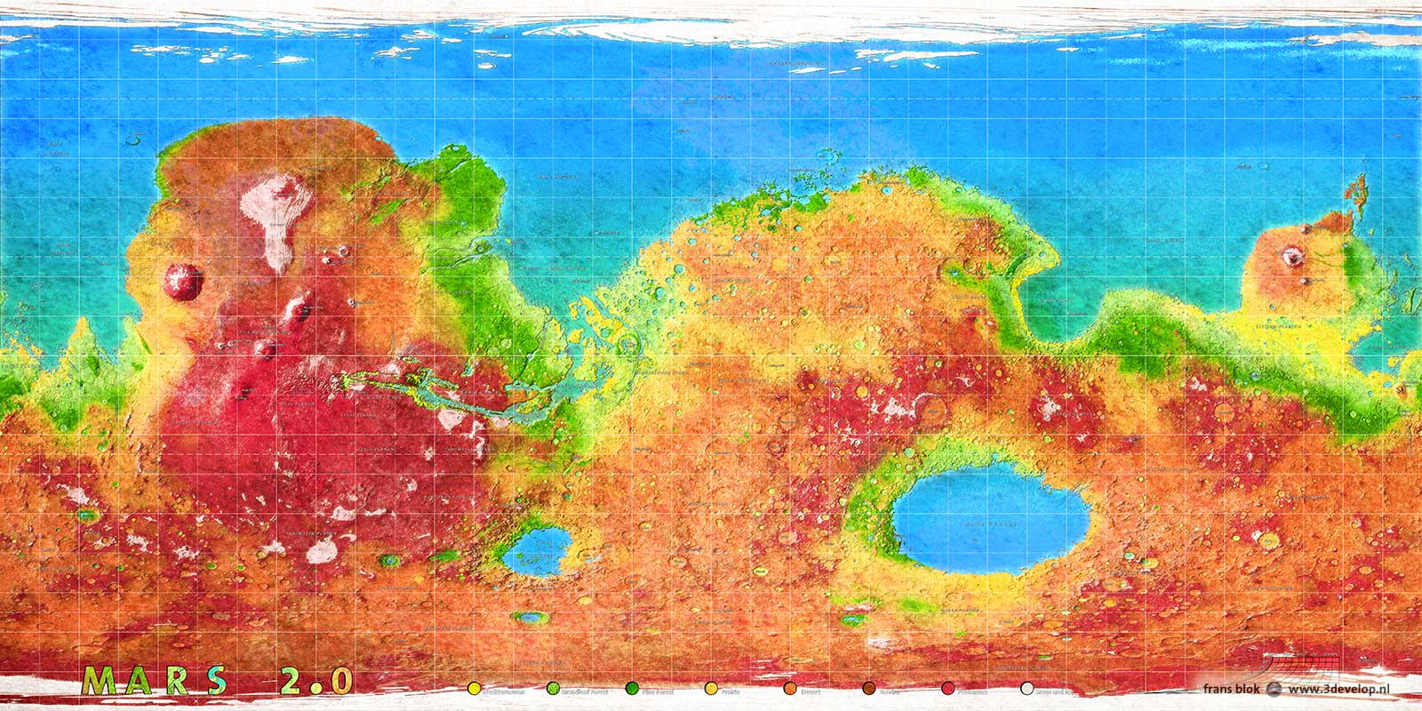 World map of terraformed Mars