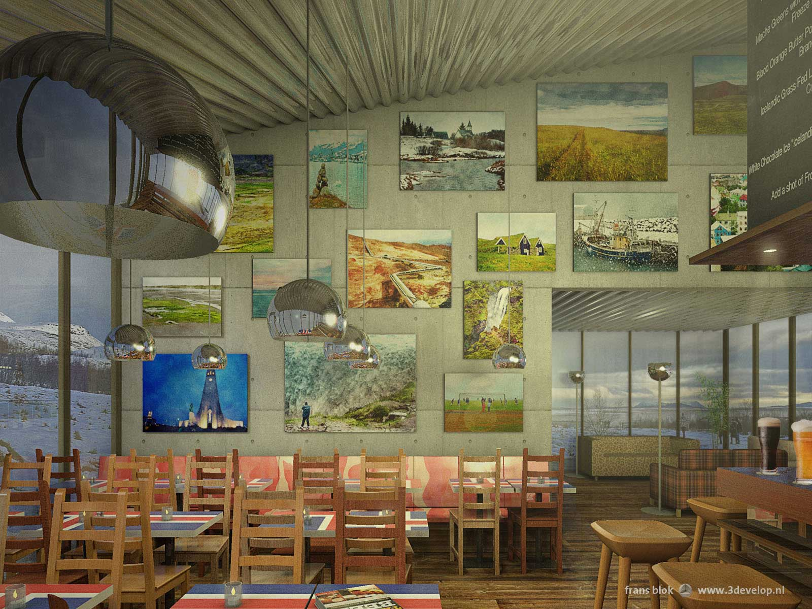 Artist impression of a fictional Icelandic cafe