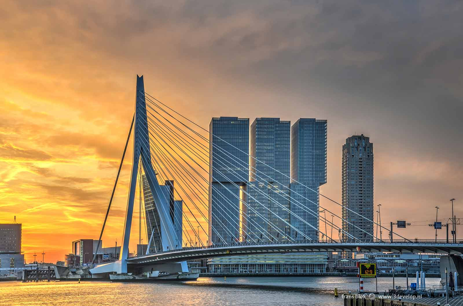 The sky colors yellow during a sunrise above Erasmus Bridge, the river Nieuwe Maas and the Kop van Zuid district in Rotterdam