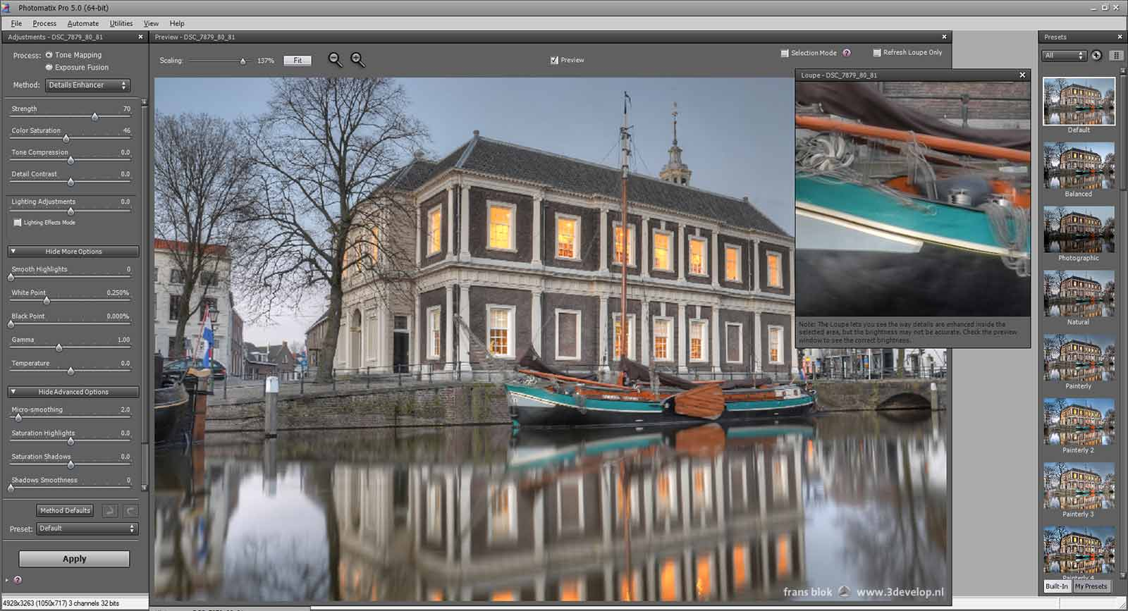 Screenshot of Photomatix Pro, with an HDR photo in progress of the Corn Exchange in Schiedam