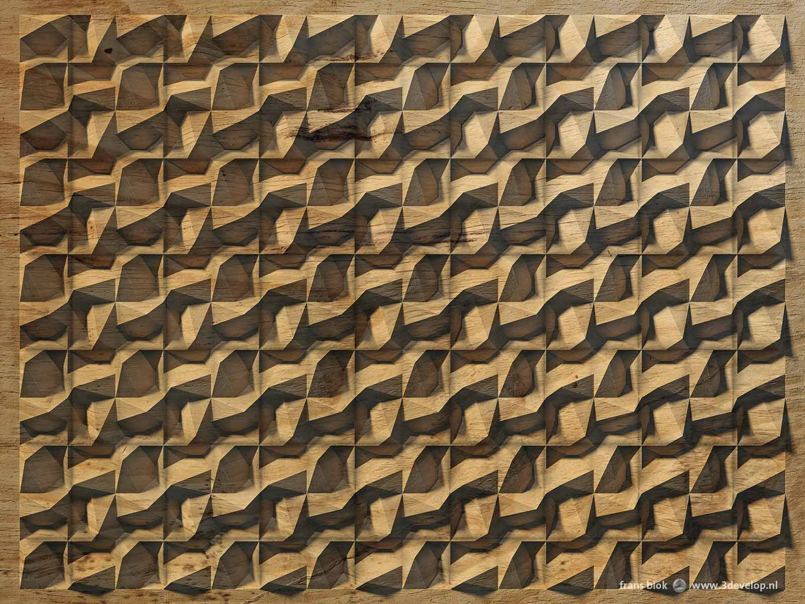 A virtual relief, creating the illusion of depth on a flat surface, with a kind of wave pattern in a square grid, done as wood carving