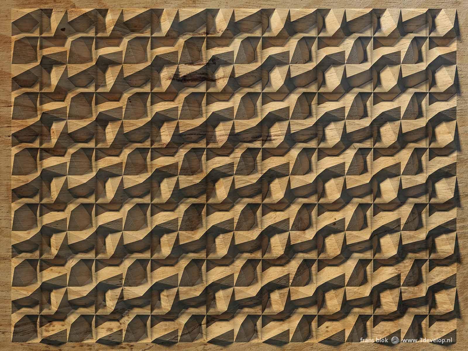 Een virtueel reliëf, dat op het platte vlak de illusie van diepte wekt, met een soort golfbeweging in een vierkant grid, uitgevoerd als houtsnijwerk.
