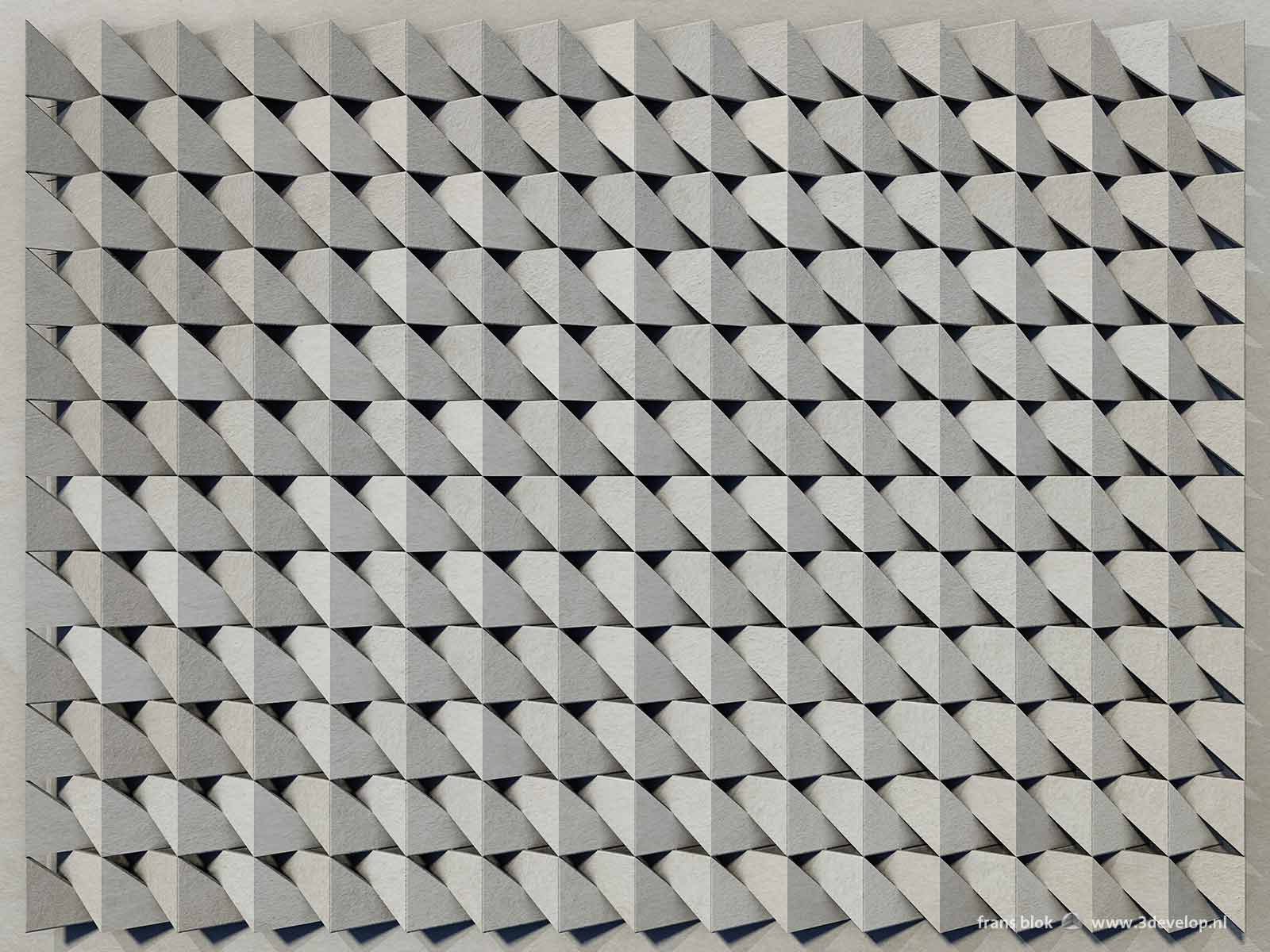 A virtual relief, creating the illusion of depth on a flat surface,, made by repetition of a simple shape, done in grey cardboard.