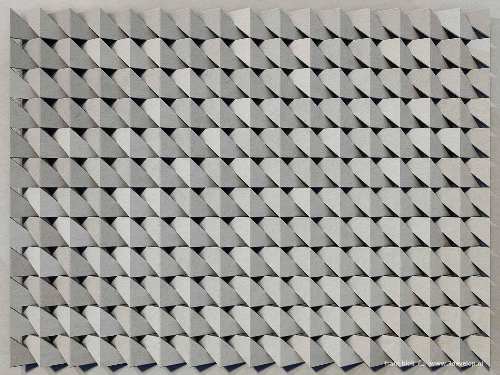 Een virtueel reliëf, dat op het platte vlak de illusie van diepte wekt, gemaakt als herhaling van een eenvoudige vorm, uitgevoerd in grijs karton