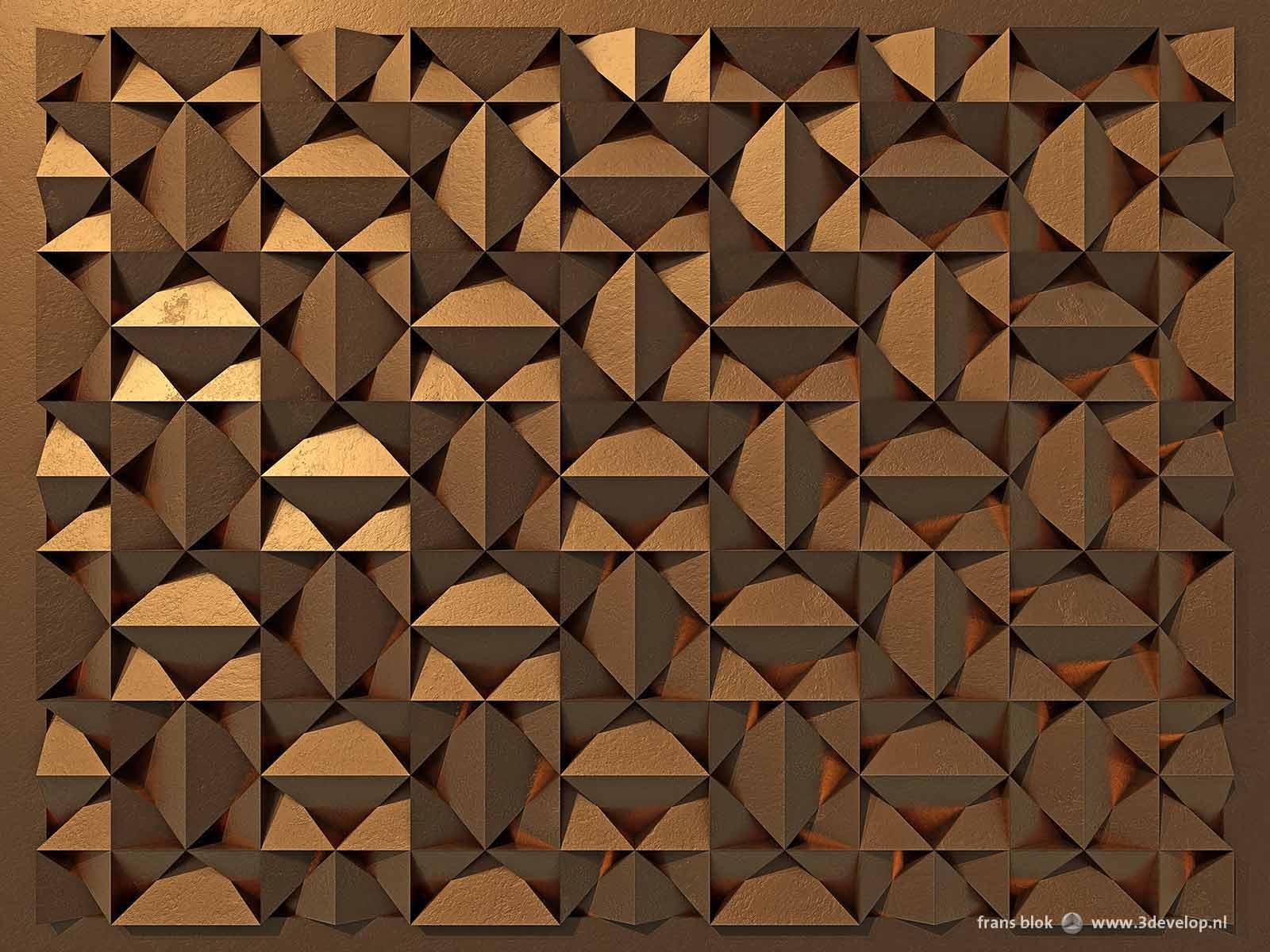 Een virtueel reliëf, dat op het platte vlak de illusie van diepte wekt, met een patroon van vierkanten en driehoeken, uitgevoerd in koper