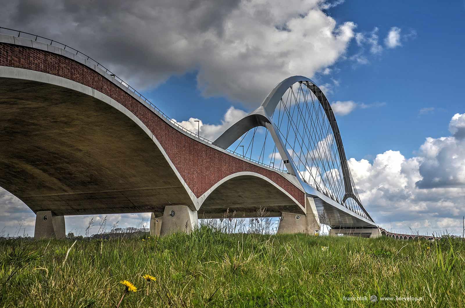 De sierlijke bogen van stadsbrug de Oversteek in Nijmegen, gezien vanaf de zuidelijke oever van de Waal