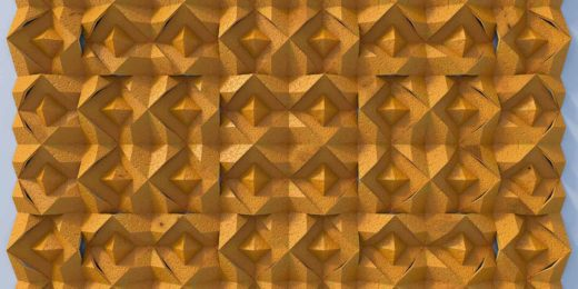 Virtual relief made of orange peel, created using autocad, 3ds max and photoshop
