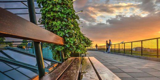 Bankje op het dak van het Groothandelsgebouw tijdens zonsondergang, met op de achtergrond een stelletje in een romantische stemming