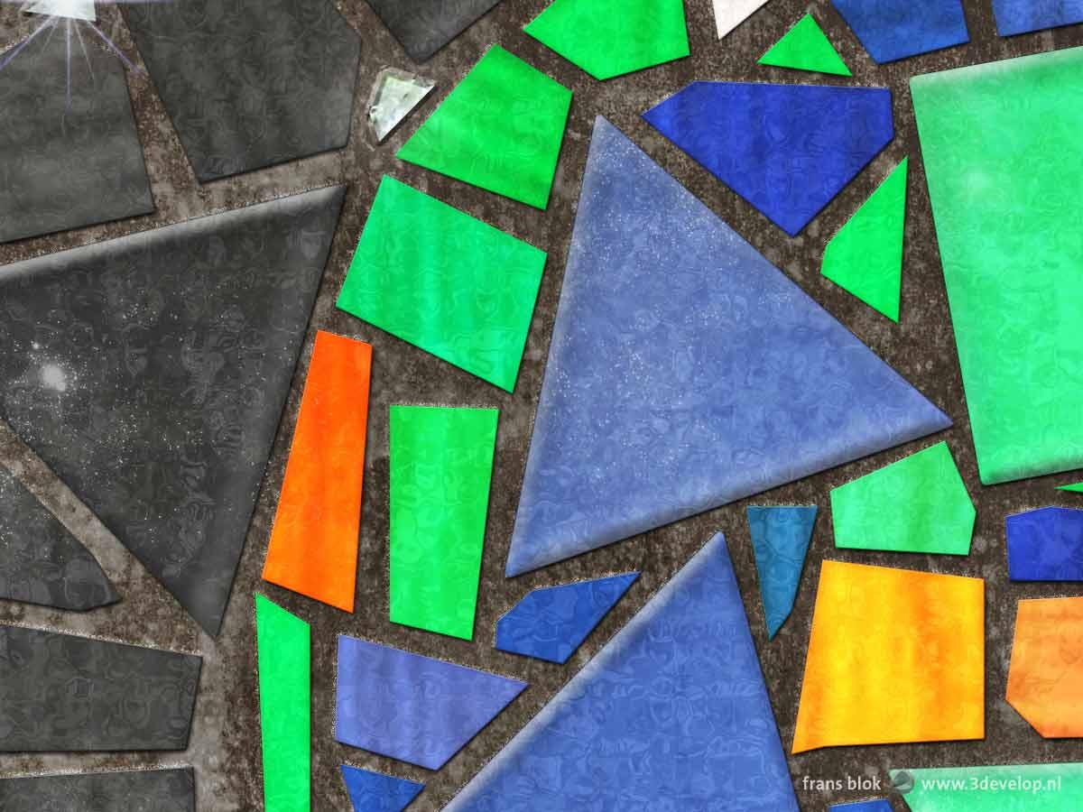 Fragment van het Earthrise-mozaiek, een remake van de beroemde foto gemaakt in 1968 tijdens de reis van de Apollo 8