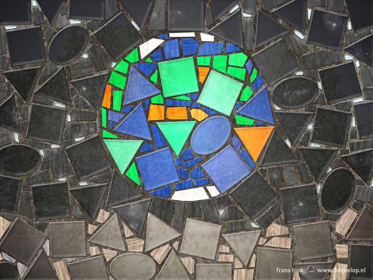 Het Earthrise-mozaiek, een remake van de beroemde foto gemaakt in 1968 tijdens de reis van de Apollo 8