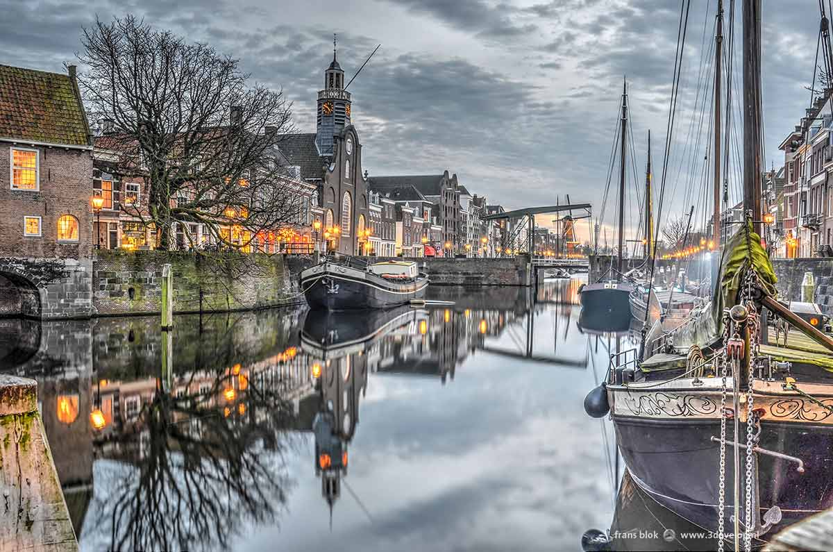 Picturesque image of Voorhaven in Delfshaven, Rotterdam made at dusk