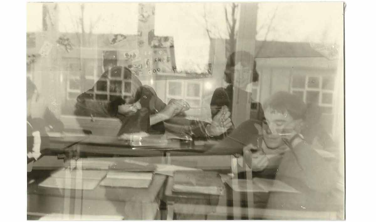 Two photo's superimposed, made at a highschool in the 1970's with an Agfa Clack camera