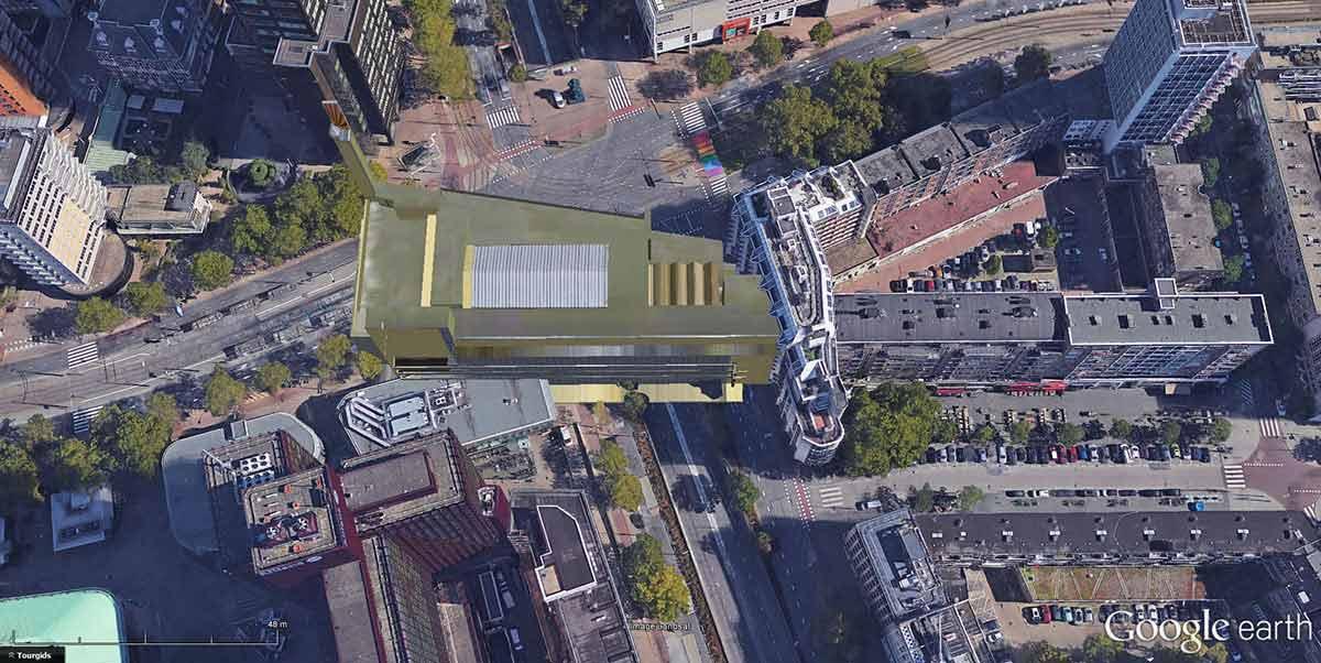 Beeld gemaakt in Google Earth met de oude Bijenkorf van architect W.M. Dudok op de oorspronkelijke plaats op Churchillplein, Coolsingel en Westblaak
