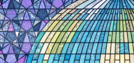 Close-up of the Earthrise stained glass window showing a piece of the globe with Europe, the Atlantic and North America