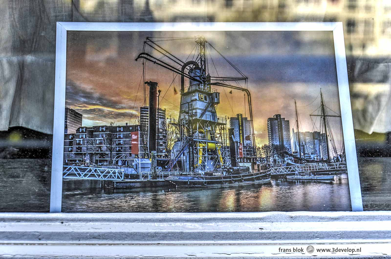 Framed photograph of the grain elevator at the Maritime Museum, on exhibition in the 3Develop Lijnbaan gallery