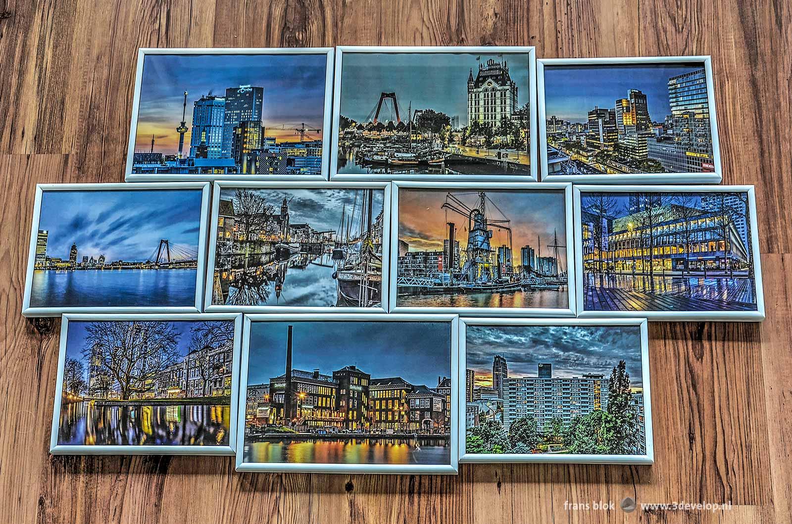 Selectie van ingelijste foto's met als thema Rotterdam in de Randen van de Nacht