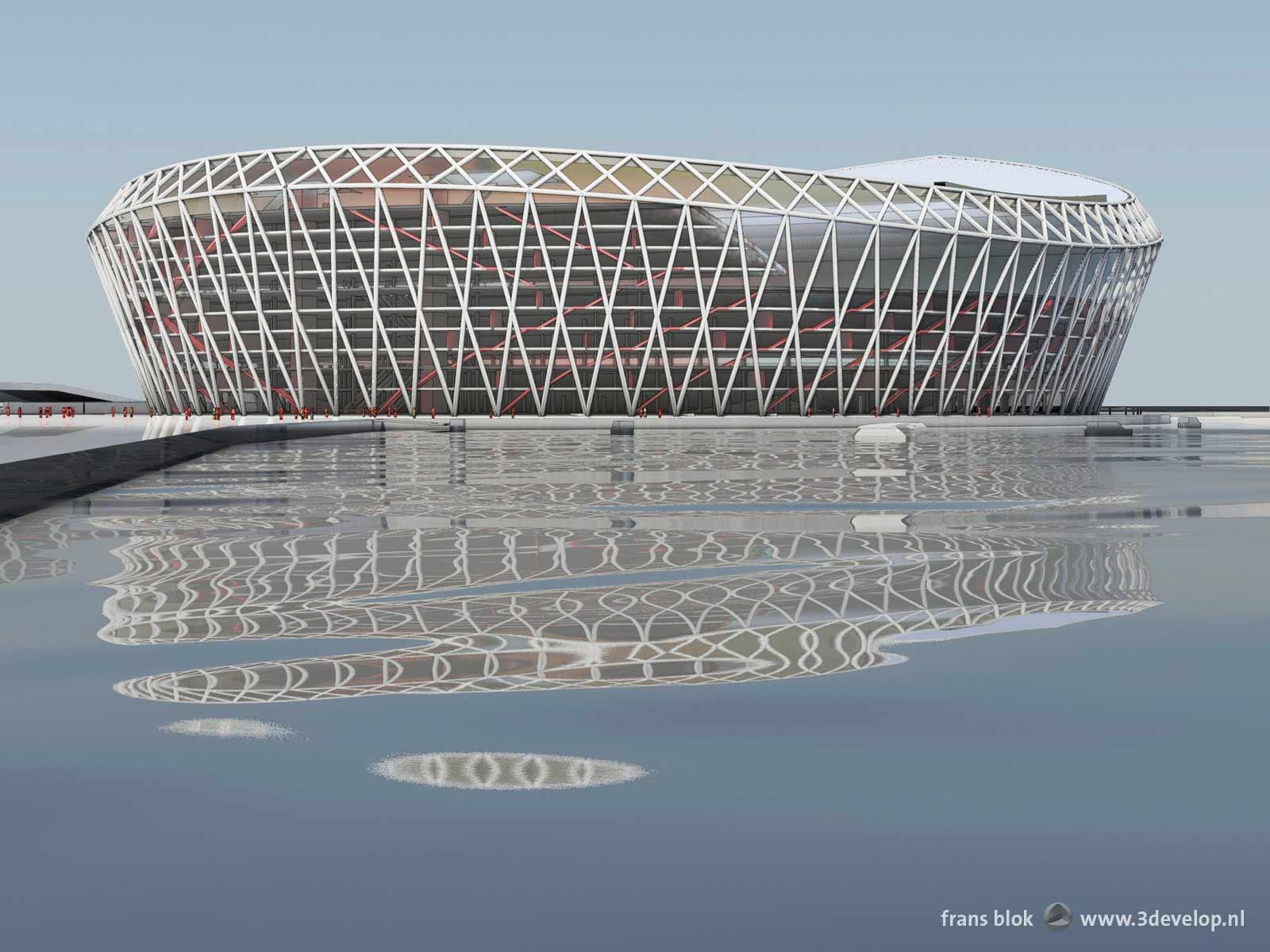 Oooghoogteperspectief van het voorgestelde nieuwe Feyenoordstation, de Schuit, gezien vanaf de Piet Smitkade