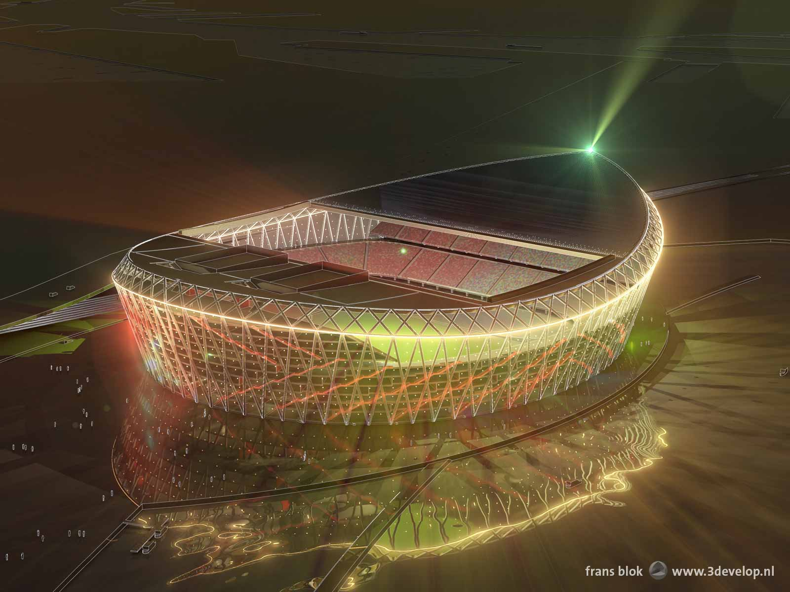 The Barge at Night, artist impression of the new Feyenoord stadium on the banks of the river Nieuwe Maas in Rotterdam