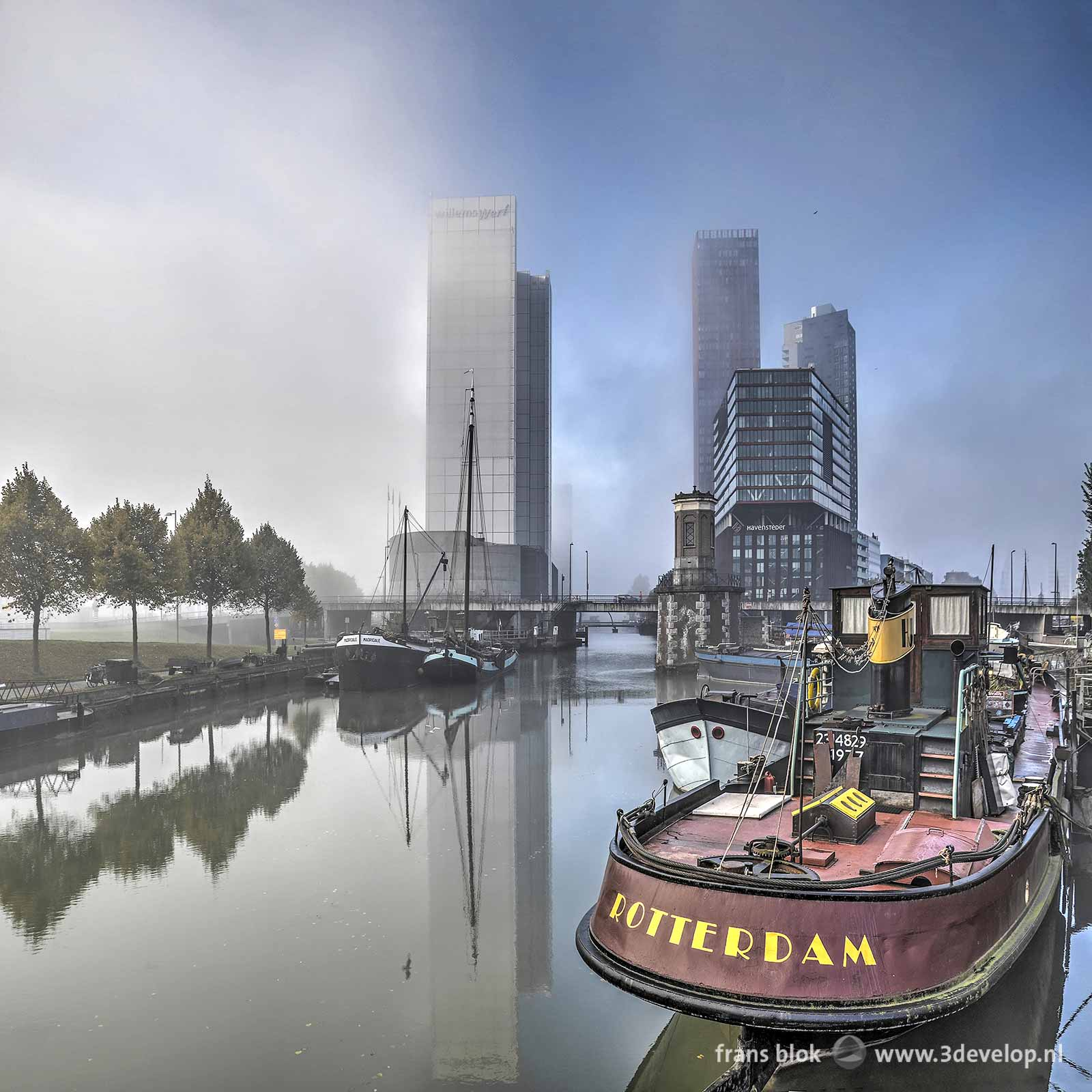 Wijnhaven in Rotterdam, an old harbour with boats and highrise buildings, with patches of mist rolling into the city from the river Nieuwe Maas