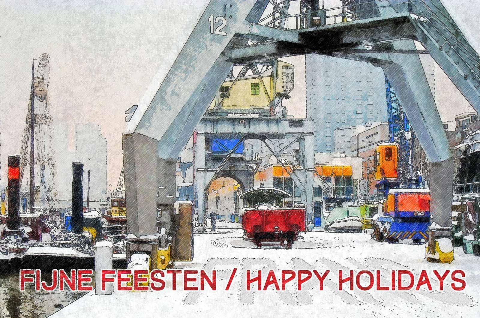 Kerstkaart van de auteur: een bewerkte foto van het Maritiem buitenmuseum aan de Leuvehaven in Rotterdam in de sneeuw