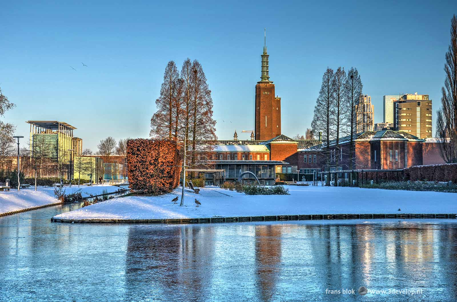 Foto uit de (korte) winter van 2014, met het besneeuwde Museumpark in Rotterdam, een bevroren vijver, museum Boymans, het Nieuwe Instituut en het Parkhotel.