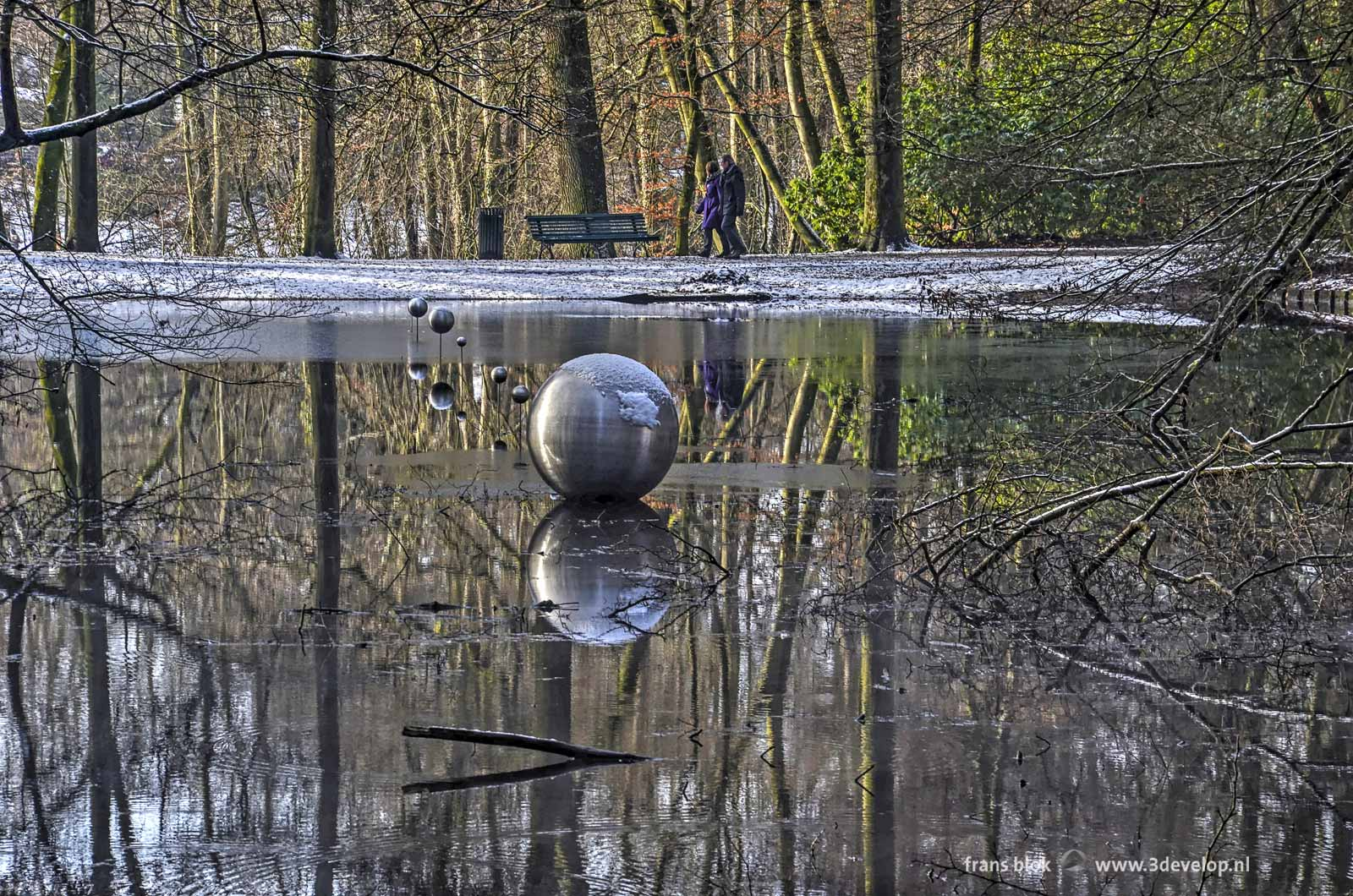 The Forest Planetarium of Arnhem: eight stainless steel spheres in the Cold Pond in Sonsbeek Park
