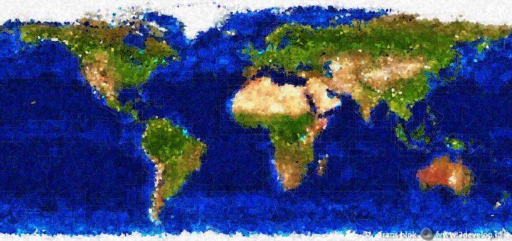 Door het kubisme geïnspireerde wereldkaart, die onze planeet laat zien als een complex systeem van vormen, kleuren en lijnen.