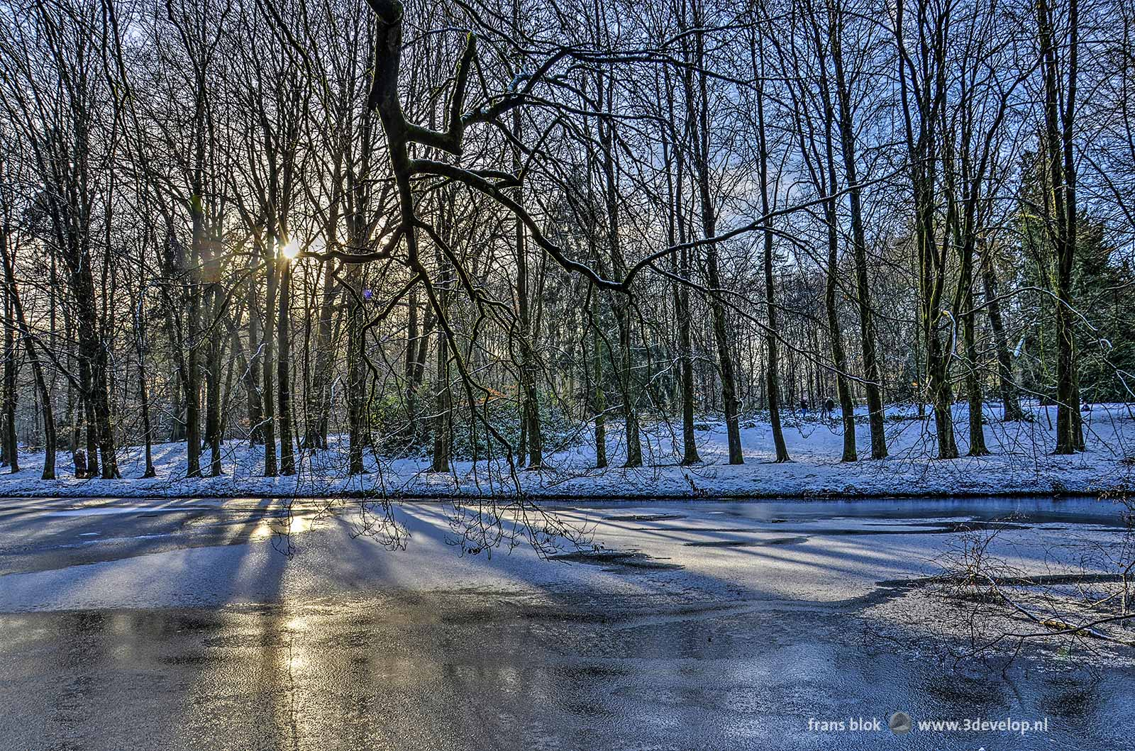Sun shining through the trees in Sonsbeek Park in Arnhem, The Netherlands, casting shadows on a frozen and partly snow-covered pond.