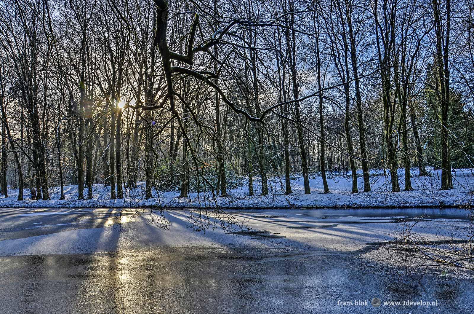 De zon schijnt door de bomen in Park Sonsbeek in Arnhem en werpt schaduwen op een bevroren en deels met sneeuw bedekte vijver.