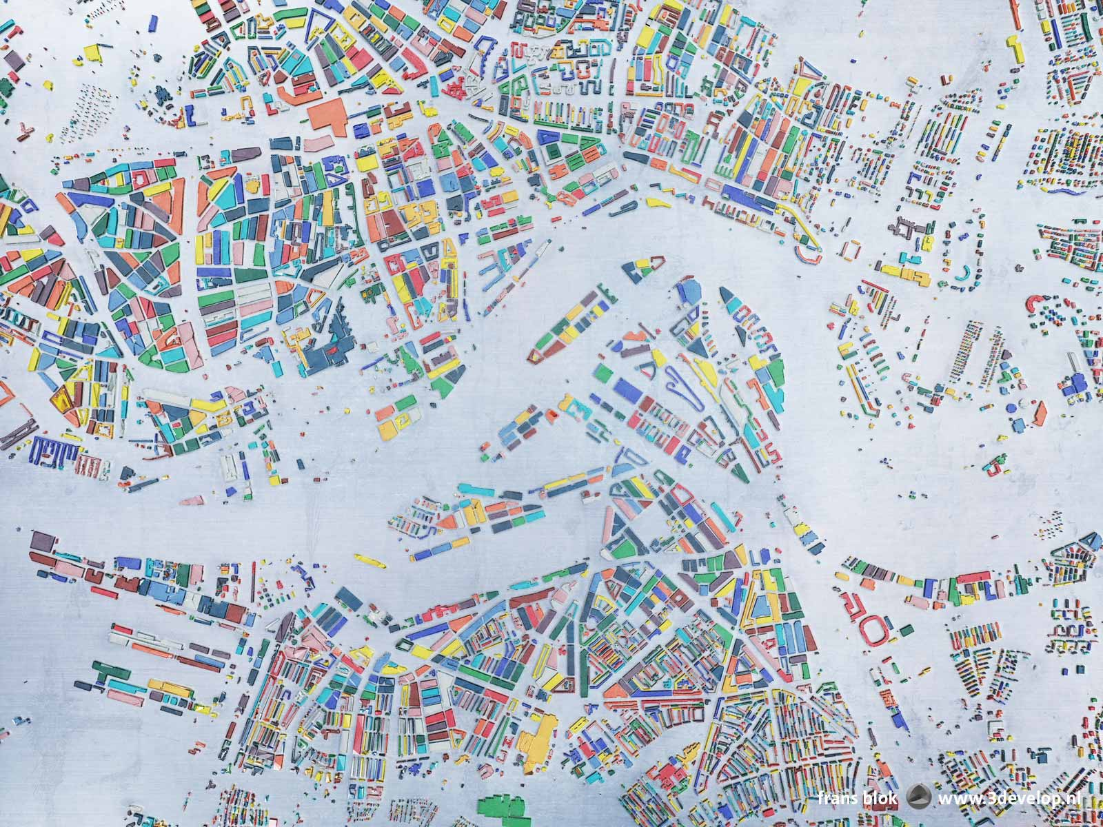 Map of Rotterdam inside the ringroad, with the city blocks done as glass in 15 different colors