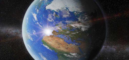 Artist impression van de planeet Aarde, gezien vanaf een punt op 50.000 kilometer boven Nederland, met van boven naar beneden de Noordpool, Europa en Afrika.
