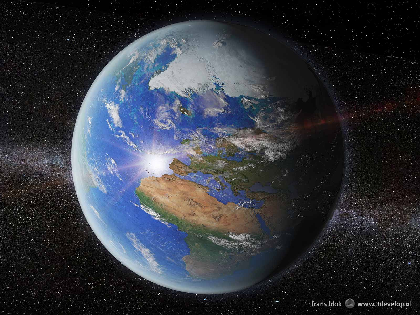 Artist impression of planet Earth, seen from a location at 50.000 kilometres above the Netherlands, showing the Northpole, Europa and Africa