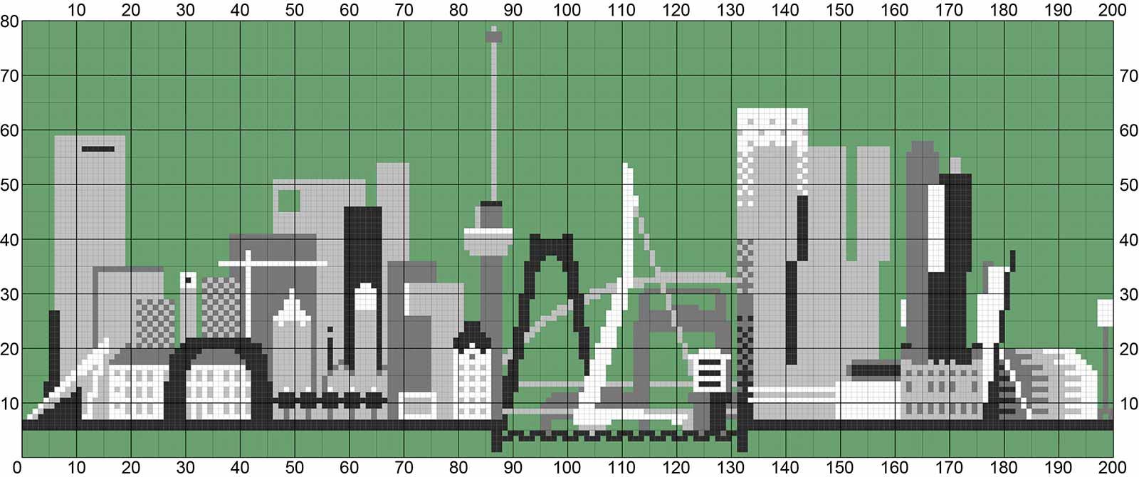 Breipatroon van 200 bij 80 steken in vijf kleuren van de skyline van Rotterdam met de belangrijkste gebouwen en bruggen van de Maasstad