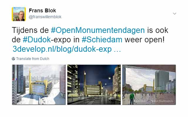 Tweet inhakend op de Open Monumentendagen over de Dudok-expo in Schiedam