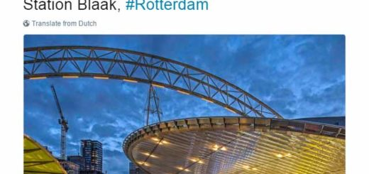 Tweet about railway station Rotterdam Blaak, mainly in blue and yellow, the colors of Dutch Railways