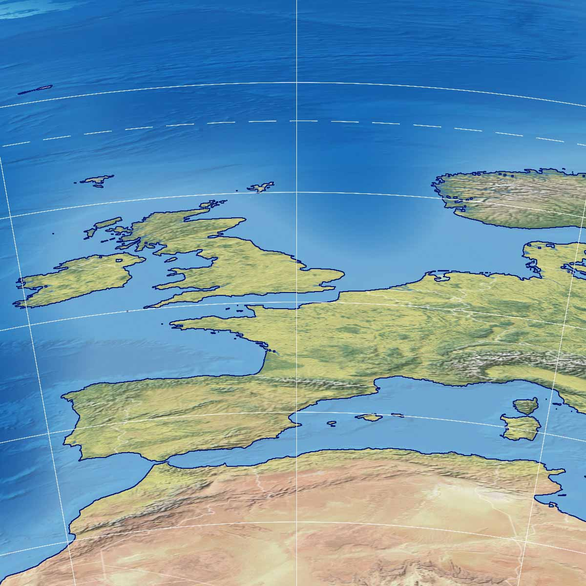 Part of the world map according to the penguin projection showing a rather distorted Europe